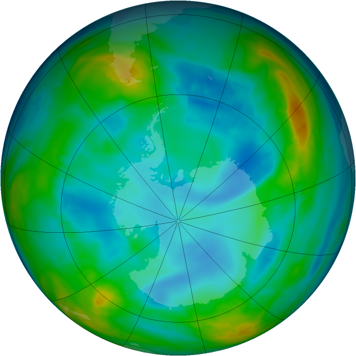 Antarctic ozone map for 07 August 2015